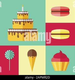 Set of flat icons with different sweets - Stock Photo