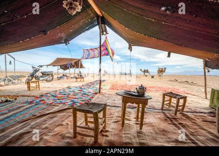 Inside of Bedoiun tent, Agafay desert, Morocco - Stock Photo
