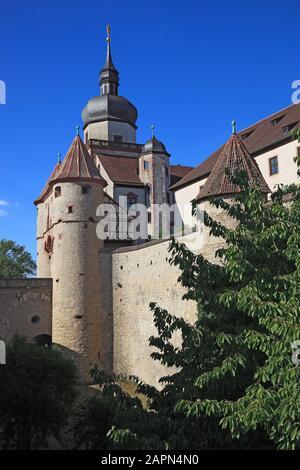 gate Scherenbergtor and tower Kiliansturm, fortress Marienberg, Würzburg, Wuerzburg, Lower Franconia , Bavaria, Germany - Stock Photo