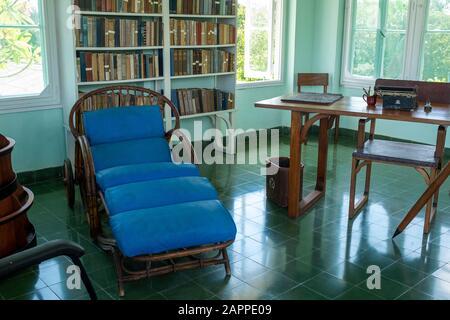 Hemingway's writing room, Finca Vigía. Havana, Cuba. - Stock Photo