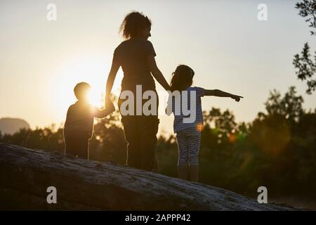 Mother and children exploring nature at sunset