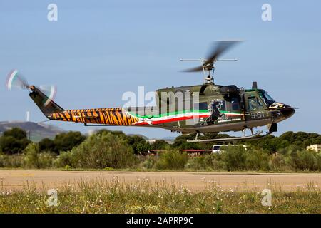ZARAGOZA, SPAIN - MAY 20,2016: Special painted Italian Air Force Agusta Bell AB-212 military helicopter from 21 Gruppo landing on Zaragoza airbase - Stock Photo