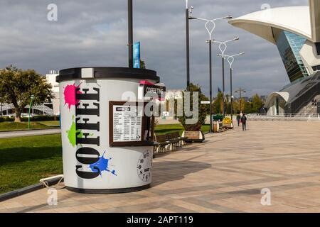 Baku, Azerbaijan - November 14, 2019: Coffee bar on the embankment of the Caspian Sea in Baku. Coffee time. coffee house.
