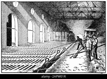 Engraving of men casting pig iron in a foundry. Based on a photograph of the Iroquois smelter, Chicago.