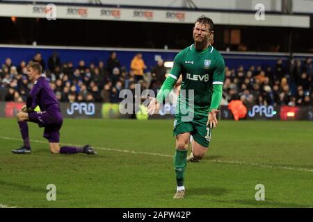 London, UK. 24th Jan, 2020. Sam Winnall of Sheffield Wednesday celebrates after scoring his team's second goal. The Emirates FA Cup, 4th round match, Queens Park Rangers v Sheffield Wednesday at The Kiyan Prince Foundation Stadium, Loftus Road in London on Friday 24th January 2020. this image may only be used for Editorial purposes. Editorial use only, license required for commercial use. No use in betting, games or a single club/league/player publications. pic by Steffan Bowen/Andrew Orchard sports photography/Alamy Live news Credit: Andrew Orchard sports photography/Alamy Live News - Stock Photo