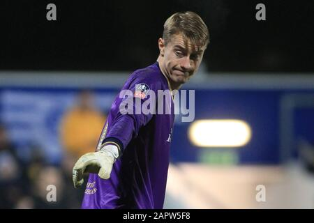 London, UK. 24th Jan, 2020. Joe Lumley, the goalkeeper of Queens Park Rangers in action. The Emirates FA Cup, 4th round match, Queens Park Rangers v Sheffield Wednesday at The Kiyan Prince Foundation Stadium, Loftus Road in London on Friday 24th January 2020. this image may only be used for Editorial purposes. Editorial use only, license required for commercial use. No use in betting, games or a single club/league/player publications. pic by Steffan Bowen/Andrew Orchard sports photography/Alamy Live news Credit: Andrew Orchard sports photography/Alamy Live News - Stock Photo