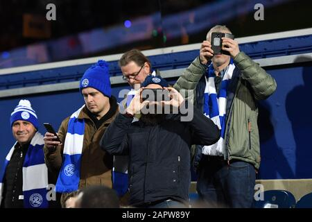 London, UK. 24th Jan 2020. QPR fans taking pictures during the FA Cup 4th Round match between Queens Park Rangers and Sheffield Wednesday at Kiyan Prince Foundation Stadium, London on Friday 24th January 2020. (Credit: Ivan Yordanov | MI News)Photograph may only be used for newspaper and/or magazine editorial purposes, license required for commercial use Credit: MI News & Sport /Alamy Live News - Stock Photo