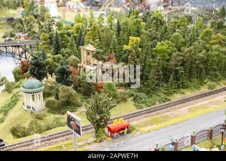 miniature train station on a miniature train - Stock Photo