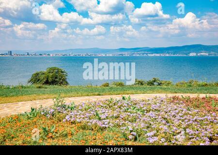 Black sea and seaside park in Nessebar, Bulgaria - Stock Photo
