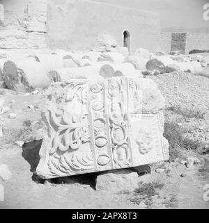 Middle East 1950-1955: Syria  Roman remains in Palmyra. Part of a frieze Date: 1950 Location: Palmyra, Syria Keywords: ruins - Stock Photo