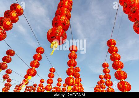 Red lanterns for celebration of Chinese Lunar New Year in Vihara Satya Dharma, Chinese Buddhist temple in Benoa, Bali, Indonesia.