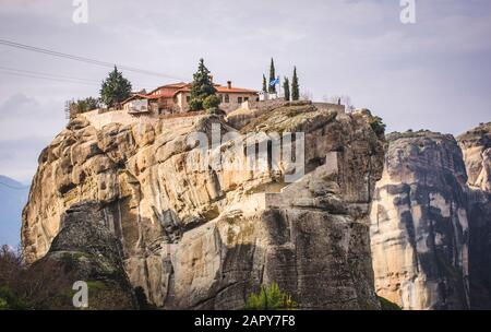 View of the amazing Meteora rocks and the monasteries on top of them.A popular,magical destination.