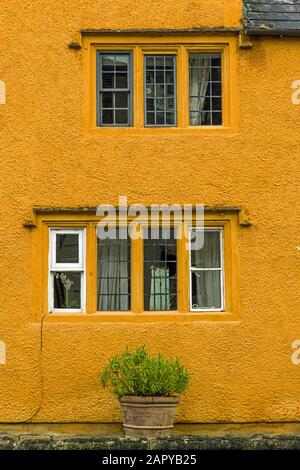 Yellow House on the High Street in Corsham Wiltshire - Stock Photo