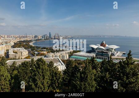 Baku, Azerbaijan - November 13, 2019: Panoramic view of the Caspian Sea in Baku. - Stock Photo