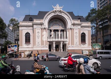 The Municipal Theatre of Ho Chi Minh City, also known as Saigon Municipal Opera House, is an opera house in Ho Chi Minh City, Vietnam - Stock Photo