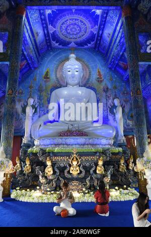 Wat Rong Seur Ten, otherwise known as the Blue Temple, Rim Kok, Chiang Rai Province, Thailand - Stock Photo