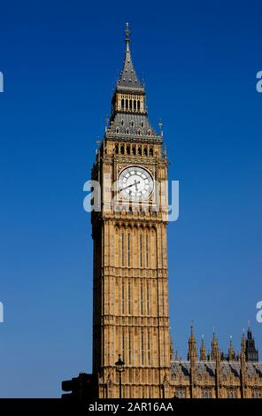 Elizabeth Tower formerly the Big Ben Clock Tower at the palace of Westminster London - Stock Photo