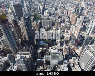 New York, USA - May 31, 2019: High angle view of midtown Manhattan. - Stock Photo