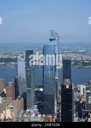 New York, USA - May 31, 2019: View of the '30 Hudson Yards' redevelopment project. - Stock Photo