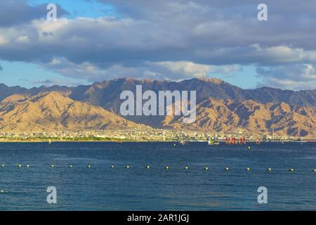 View from Eilat on the gulf of Aqaba and Aqaba (Jordan) - Stock Photo