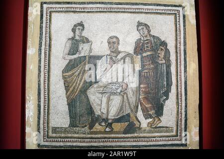A Roman mosaic of the poet Virgil and two muses Calliope and Polymnia, found at Hadrumetum on display at the Bardo National Museum, Tunis, Tunisia. - Stock Photo