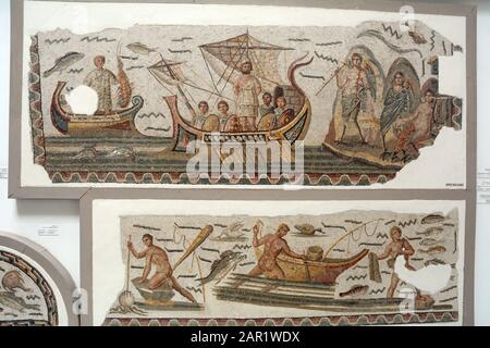 An ancient Roman mosaic from the 3rd century AD depicting Ulysses and his crew enduring the song of the sirens, Bardo National Museum, Tunis, Tunisia. - Stock Photo
