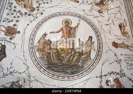 'The Triumph of Neptune' an ancient Roman mosaic from La Chebba, Tunisia, 2nd Century AD, displayed in the Bardo National Museum, Tunis, Tunisia. - Stock Photo