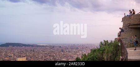BARCELONA, SPAIN - Aug 29, 2018: View of Barcelona city and coastline in spring from the Bunkers in Carmel neighborhood. - Stock Photo