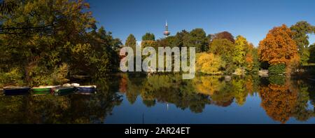 FRANKFURT AM MAIN, GERMANY - October 31, 2016: Autumn in the Palmengarten. The Palmengarten is one of two botanical gardens in Frankfurt. It covers a surface of 22 hectares. - Stock Photo