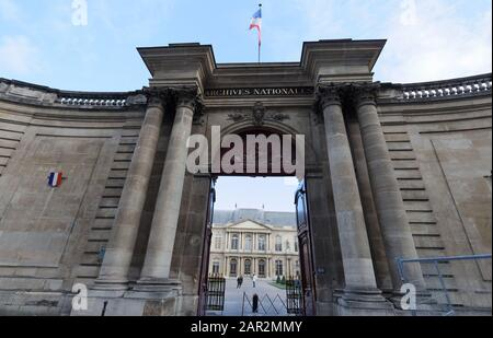 View of the National Archives entry in the Marais district in Paris, France
