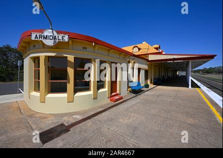 Armidale railway station in Armidale, northern new south wales, australia, the end of the Main Northern Line, built 1882-3.