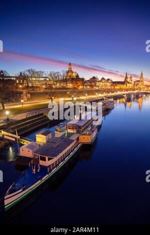 Dresden, Germany. Image of Dresden, Germany with the Dresden Frauenkirche and Dresden Cathedral during beautiful sunset.