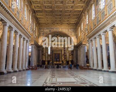 Interior of the Basilica di Santa Maria Maggiore or Basilica of Saint Mary Major in Rome, Italy. - Stock Photo