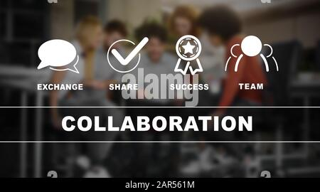 Collaboration inscription and its components over young business team briefing - Stock Photo
