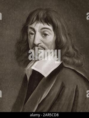 Portrait of Rene Descartes (1596-1650), French philosopher and writer engraving after Pierre Michel Alix - Stock Photo