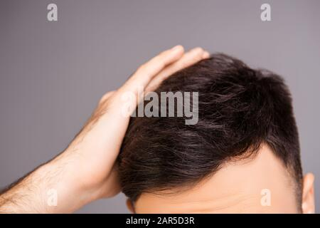 Close up photo of clean healthy man's hair without furfur - Stock Photo