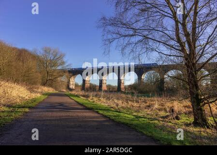 Sankey Valley railway viaduct at Earlestown. The earliest major railway viaduct in the world Stock Photo