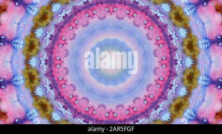 pink purple Artistic zen kaleidoscopic background, mandala, ink - Stock Photo