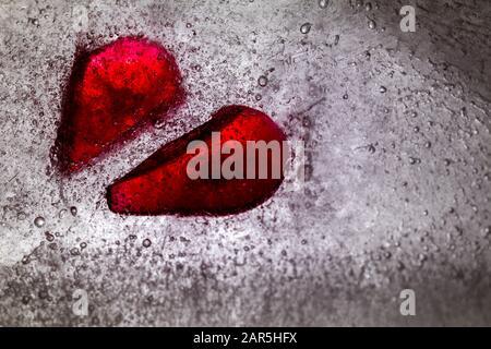 Abstract broken heart in ice concept of heartbreak no love