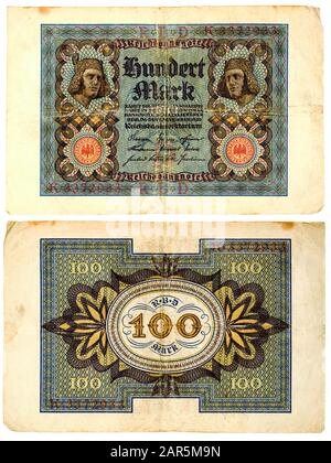 Old german 100 Mark bill from 1920 during the economic crisis after the first world war - Stock Photo