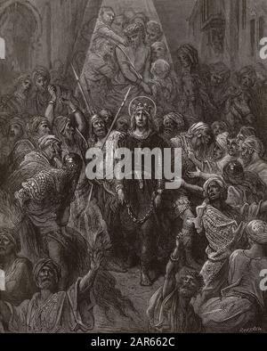 Saint Louis fait prisonnier a Mansoura, pendant la 7eme croisade en 1250 - King Louis IX (1214-70) prisoner in Egypt - engraving by Gustave Dore -  fr