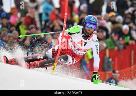 Marco SCHWARZ (AUT), action, alpine skiing, men's slalom, 80th Hahnenkamm race 2020, Kitzbuehel, Hahnenkamm, on January 26th, 2020 | usage worldwide - Stock Photo