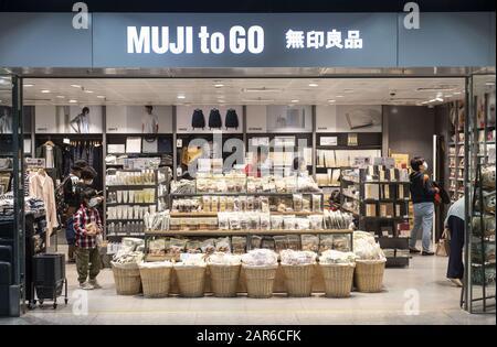 Hong Kong, China. 23rd Jan, 2020. Japanese household and clothing retail company, Muji, shop seen in Hong Kong. Credit: Budrul Chukrut/SOPA Images/ZUMA Wire/Alamy Live News - Stock Photo