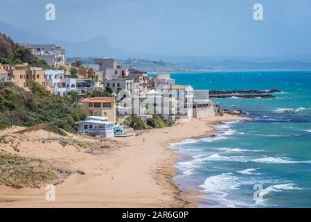 Aerial view on Marinella di Selinunte village from Selinunte ancient Greek city on the south western coast of Sicily in Italy - Stock Photo