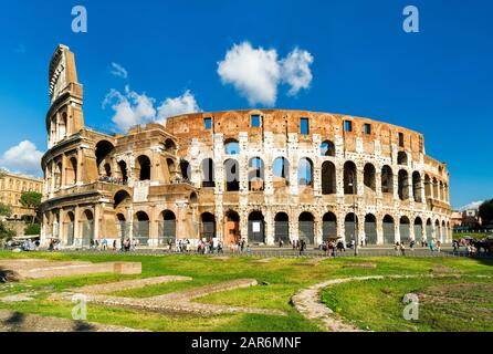 Colosseum or Coliseum in Rome, Italy. It is the main travel attraction of Rome. Colosseum in the sunlight. Rome landmark. Historical architecture and