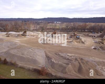Drone aerial gravel pit mining sorting glacial river gravel Ohio - Stock Photo