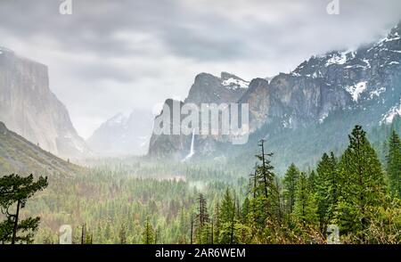 Iconic view of Yosemite Valley in California - Stock Photo