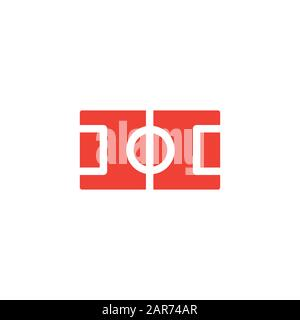 Football Field Red Icon On White Background. Red Flat Style Vector Illustration. - Stock Photo