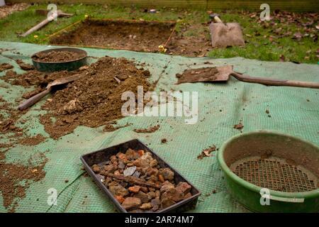 Archaelogical dig in garden