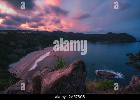 Sunset over New Chums Beach, Coromandel, New Zealand